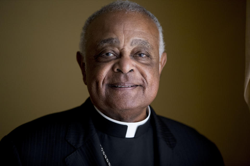 FILE - This Sunday, June 2, 2019, file photo shows Washington D.C. Archbishop Wilton Gregory posed for a portrait following mass at St. Augustine Church in Washington. Pope Francis has named 13 new cardinals, including Washington D.C. Archbishop Wilton Gregory, who would become the first Black U.S. prelate to earn the coveted red cap. In a surprise announcement from his studio window to faithful standing below in St. Peter's Square, Sunday, Oct. 25, 2020, Francis said the churchmen would be elevated to a cardinal's rank in a ceremony on Nov. 28. (AP Photo/Andrew Harnik, File)