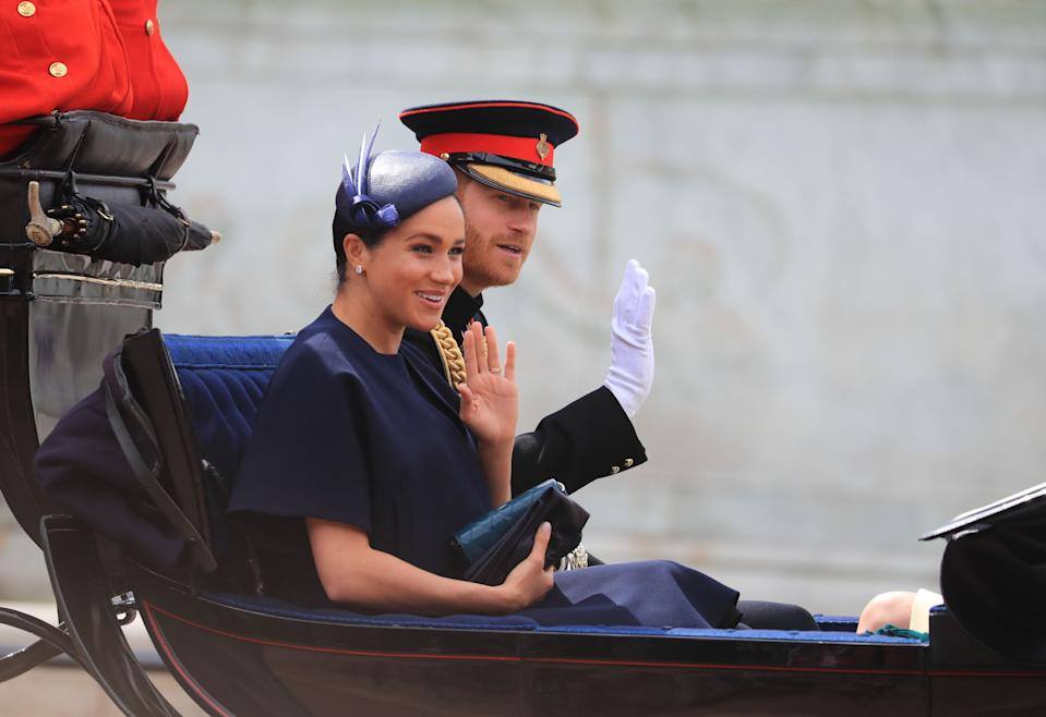 The Duke and Duchess of Sussex make their way along The Mall to Horse Guards Parade, in London, ahead of the Trooping the Colour ceremony, as The Queen celebrates her official birthday.