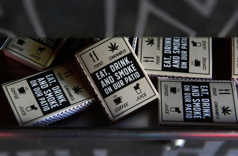 Boxes of matches for patrons are seen at Lowell Farms: A Cannabis Cafe in West Hollywood, California