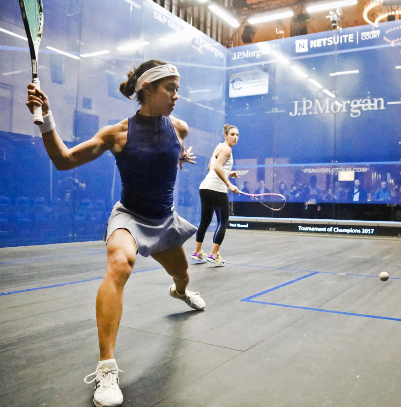 Malaysia's 7th ranked Nicol David, left, and France's 3rd ranked Camille Serme, right, warm-up for the 20th anniversary of the JP Morgan Tournament of Champions professional squash competition, Thursday Jan. 12, 2017, in New York at Grand Central terminal in New York. The competition runs Jan.12 through Jan. 19. (AP Photo/Bebeto Matthews)