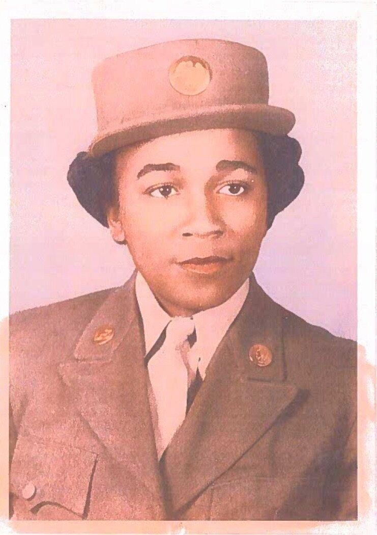 Elizabeth Barker Johnson served as a Private First Class in the U.S. Army. She was a member of the 6888th Central Postal Directory Battalion, the only all-female, all-Black regiment to be deployed overseas during World War II. (Credit: Shandra Bryant/6888th Central Postal Directory Battalion,)
