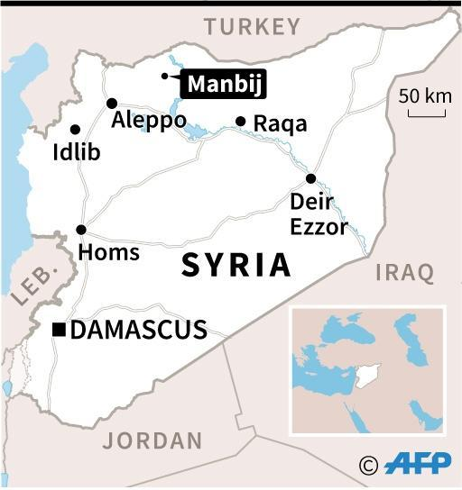 Map locating the city of Manbij in Syria. (AFP Photo/AFP)
