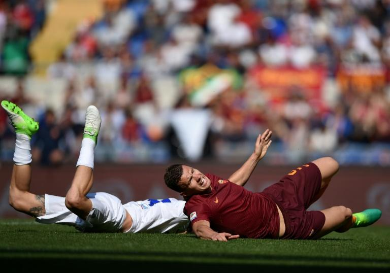 Roma's Edin Dzeko reacts during their match against Atalanta at the Olympic Stadium in Rome on April 15, 2017