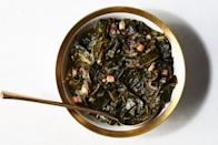 """To many, cured pork is an essential ingredient in braised greens for salty, rich, savory satisfaction. At Henrietta Red in Nashville, that means plenty of bacon. A pour of cider vinegar near the end of cooking adds balance. <a href=""""https://www.epicurious.com/recipes/food/views/sweet-and-tangy-braised-collard-greens?mbid=synd_yahoo_rss"""" rel=""""nofollow noopener"""" target=""""_blank"""" data-ylk=""""slk:See recipe."""" class=""""link rapid-noclick-resp"""">See recipe.</a>"""