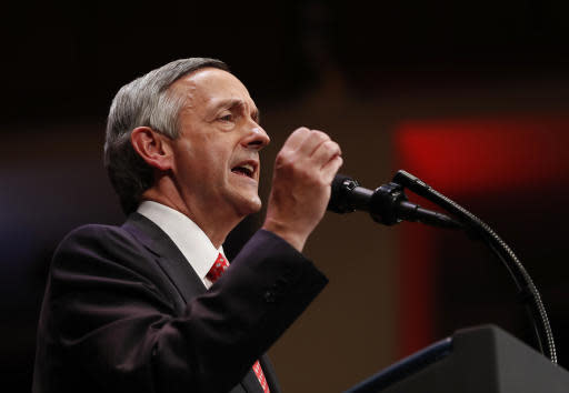FILE - In this July 1, 2017, file photo, Pastor Robert Jeffress of the First Baptist Dallas Church Choir speaks as he introduces President Donald Trump during the Celebrate Freedom event at the Kennedy Center for the Performing Arts in Washington. The Megachurch pastor has been selected by Talladega Superspeedway to give Sunday's pre-race invocation and wave the green flag. (AP Photo/Carolyn Kaster, File)
