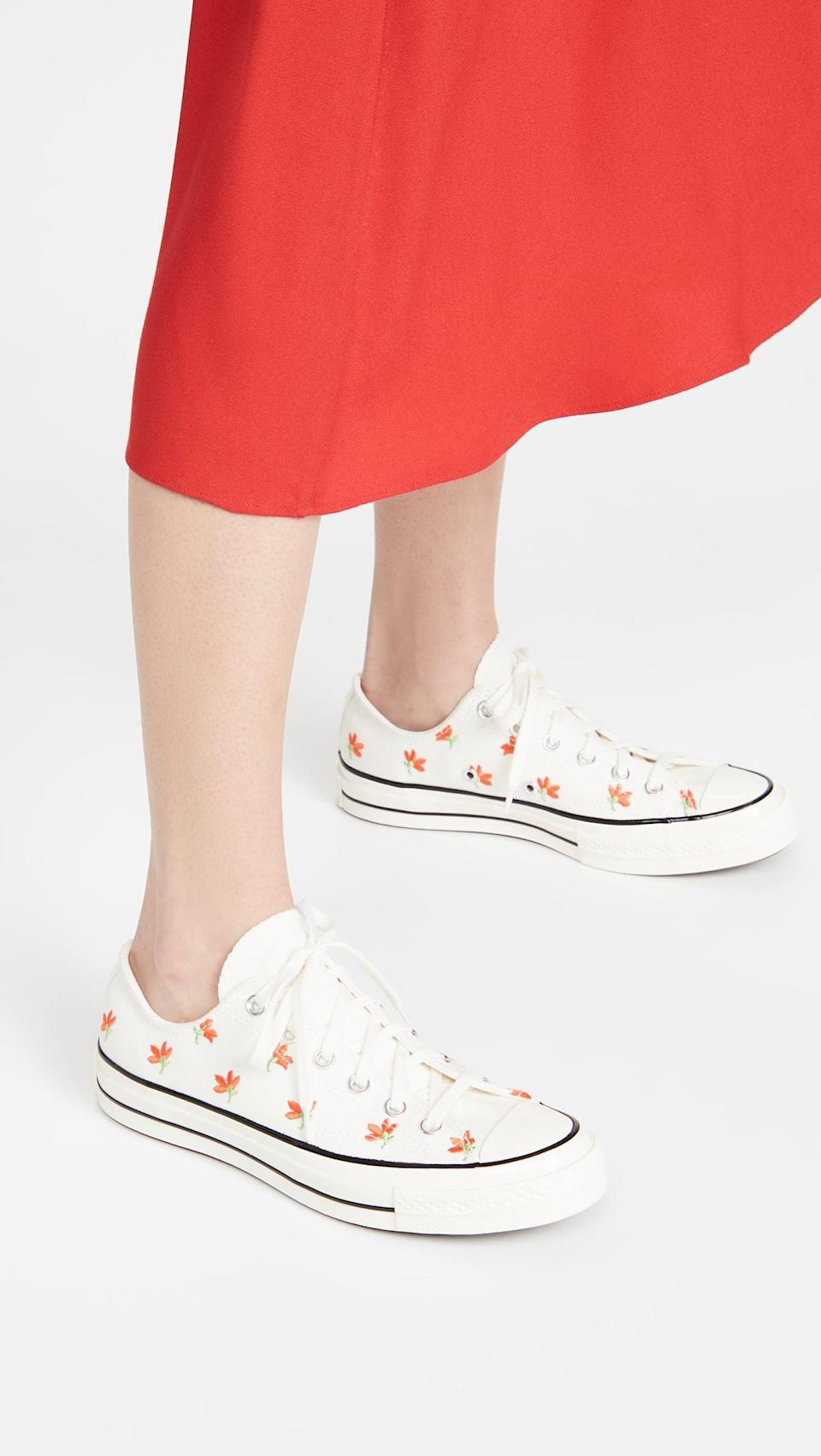 """<p><span>Converse Chuck 70 Embroidered Garden Party Sneakers</span> ($60, originally $85)</p> <p>""""I'm a sucker for florals, so these fun kicks instantly caught my attention. How can you resist the fun springtime vibe?"""" - Macy Cate Williams, senior editor, Shop</p>"""