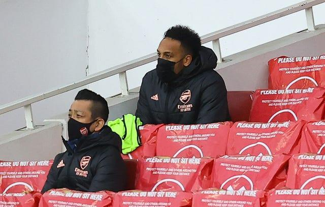 Pierre-Emerick Aubameyang watched on from the stands having been dropped by Arsenal boss Mikel Arteta.