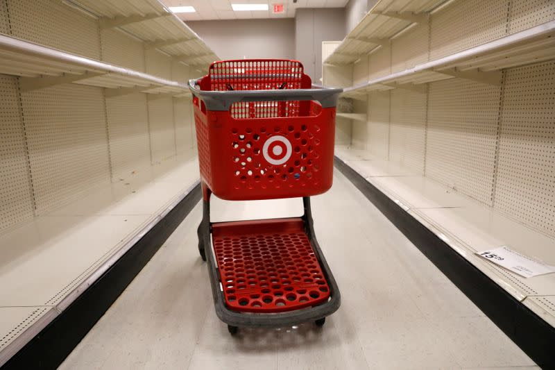 A shopping cart sits in an aisle empty of cleaning products at Target store during the outbreak of coronavirus disease (COVID-19) in New York