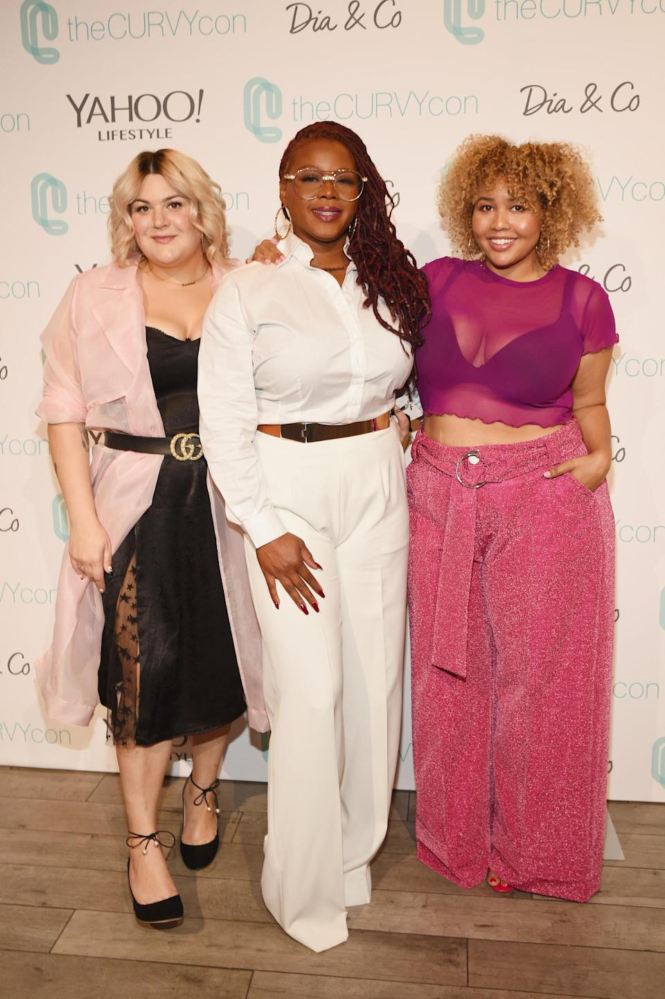 Nicolette Mason, Claire Sulmers, and Gabi Gregg at the 2017 theCurvyCon in New York City. (Photo: Bryan Bedder/Getty Images for Curvy Events, LLC)