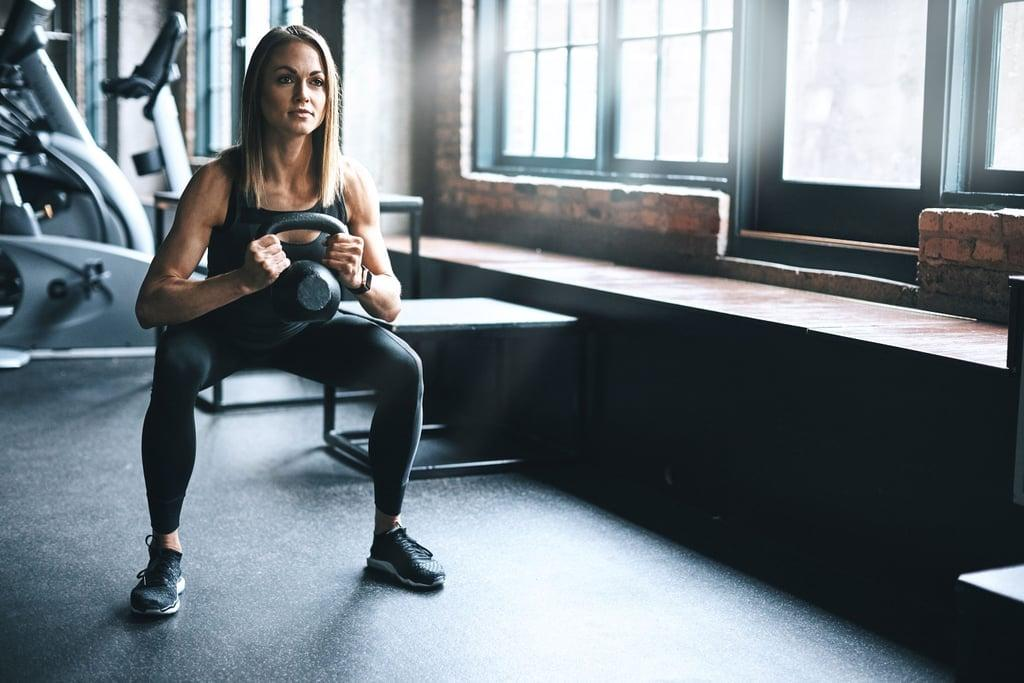 "<p>Be warned: even though <a href=""https://www.popsugar.com/fitness/CrossFit-Kettlebell-Workout-46153972"" class=""ga-track"" data-ga-category=""Related"" data-ga-label=""https://www.popsugar.com/fitness/CrossFit-Kettlebell-Workout-46153972"" data-ga-action=""In-Line Links"">this kettlebell workout</a> is only 10 minutes long, there's no rest, and your legs, butt, and arms will be smoked by the end.</p> <p><strong>Equipment needed:</strong> one light to medium kettlebell (five to 35 pounds)</p>"