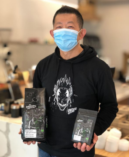 Gesha Coffee owner Ken Taing with panama beans worth $200 per cup