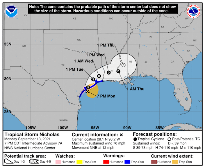 Tropical Storm Nicholas is closing in on the Texas coast, with an expected landfall sometime Monday evening.