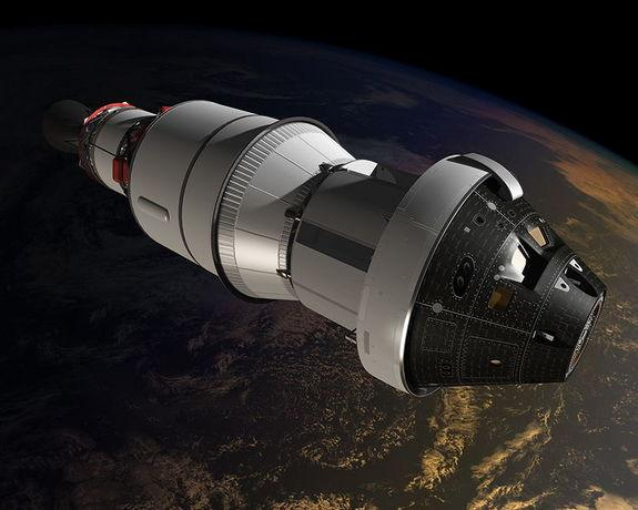 This artist's concept shows the Orion crew module during its planned orbital test flight in 2014. Orion is the world's first interplanetary spacecraft, capable of transporting up to four astronauts beyond low-Earth orbit on long-duration, deep-