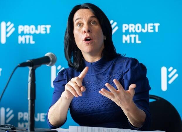 Montreal incumbent mayor Valérie Plante speaks during a news conference in Montreal on Saturday where she announced her plan for public security. Montrealers will go to the polls in a municipal election on November 7.  (The Canadian Press/Graham Hughes - image credit)