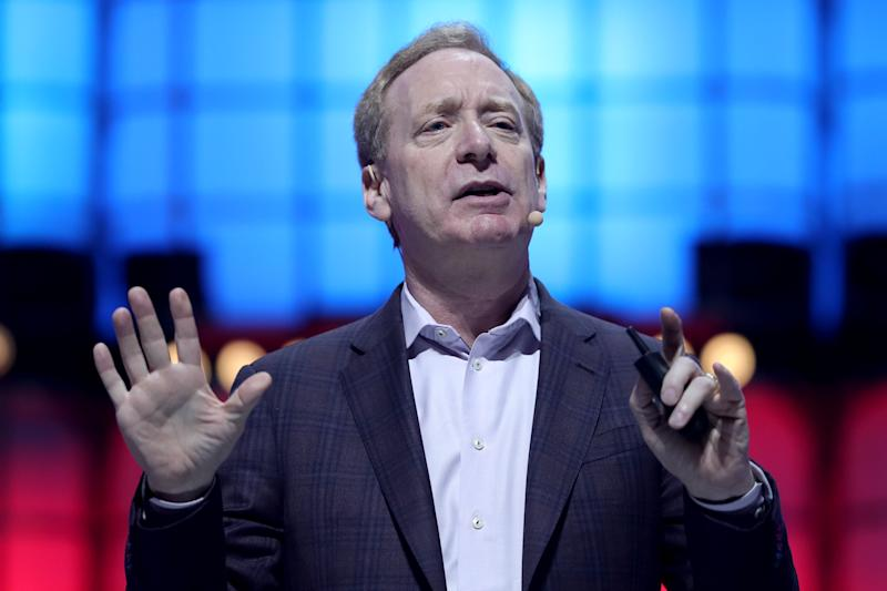 Microsofts President Brad Smith delivers a speech during the annual Web Summit technology conference in Lisbon, Portugal on November 6, 2019. (Photo by Pedro Fiúza/NurPhoto via Getty Images)