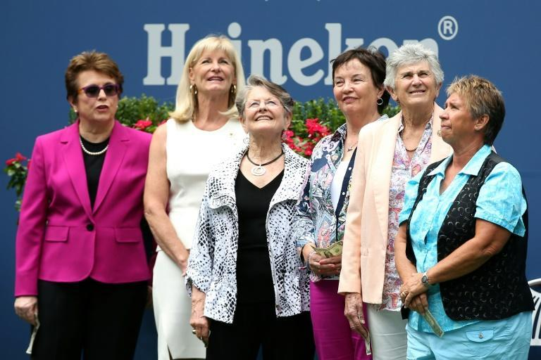 Trailblazers: Billie Jean King (left) with fellow WTA pioneers Valerie Ziegenfuss, Nancy Richey, Kerry Melville Reid, Judy Tegart Dalton and Rosie Casals