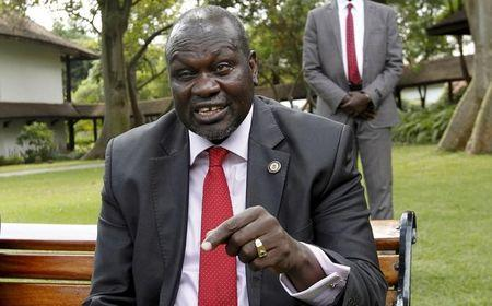 A file photo shows South Sudan's rebel leader Riek Machar speaking during an interview with Reuters in Kenya's capital Nairobi
