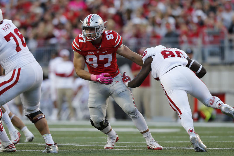 Ohio State defensive end Nick Bosa sheds an Indiana blocker during a game last season. (AP)
