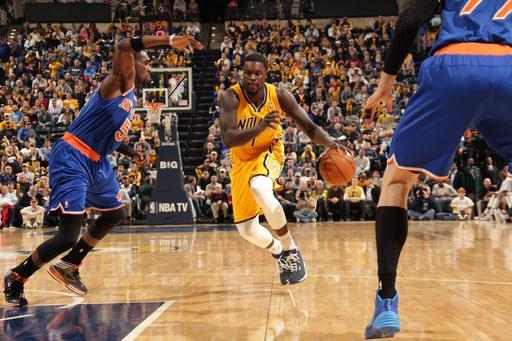 INDIANAPOLIS - JANUARY 16: Lance Stephenson #1 of the Indiana Pacers drives to the basket against the New York Knicks at Bankers Life Fieldhouse on January 14, 2014 in Indianapolis, Indiana. (Photo by Ron Hoskins/NBAE via Getty Images)