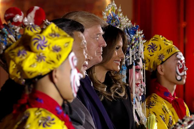 <p>President Donald Trump, first lady Melania and China's President Xi Jinping pose with opera performers at the Forbidden City in Beijing, China, Nov. 8, 2017. (Photo: Jonathan Ernst/Reuters) </p>