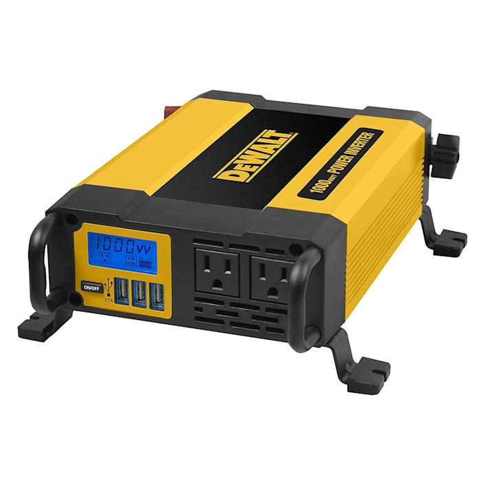 """<p><strong>DEWALT</strong></p><p>amazon.com</p><p><strong>$149.99</strong></p><p><a href=""""https://www.amazon.com/dp/B0767F5DPJ?tag=syn-yahoo-20&ascsubtag=%5Bartid%7C10060.g.36341609%5Bsrc%7Cyahoo-us"""" rel=""""nofollow noopener"""" target=""""_blank"""" data-ylk=""""slk:Shop Now"""" class=""""link rapid-noclick-resp"""">Shop Now</a></p><p>The 11-pound aluminum body comes with two carrying handles and four screw mounting brackets. It's also low-profile enough to stow away fairly easily. The 1,000-watt capacity can come in handy for anyone who needs to run many electronics, a vacuum cleaner, or some power tools. </p><p>Direct battery clamps are needed to open up its full potential. Larger engines, diesel, or hybrid engines are more likely to have a charging system heavy-duty enough to actually supply 1,000 watts, so those with compact gas cars may be better suited to cheaper options.</p><p>The package includes two standard outlets and three USB ports. An LCD screen also shows exactly how much power is being drawn, and indicates battery charge level, while an internal breaker switch and low-battery shut-off feature ensure safety. </p>"""