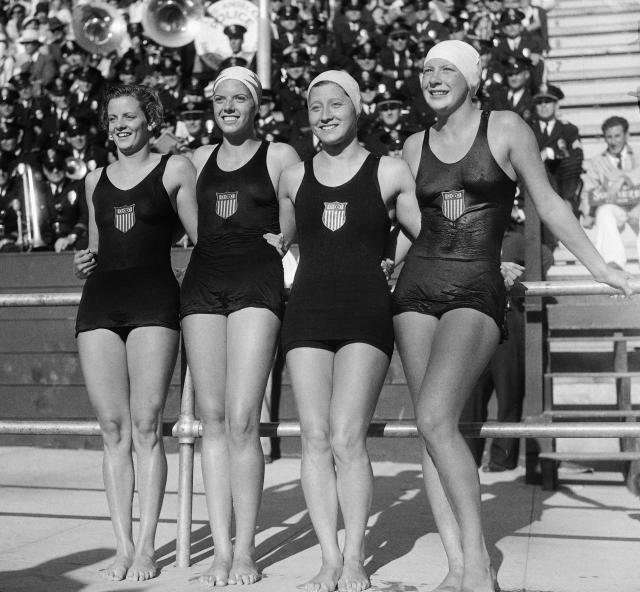 The 400 meter relay swimmimg event was won by the USA, August 14, 1932, in Los Angeles, Calif.. Left to right are; Josephine McKim, Helen Johns, Eleanor Garrati Saville, and Helene Madison. The time was four minutes and 38 seconds. (AP Photo)