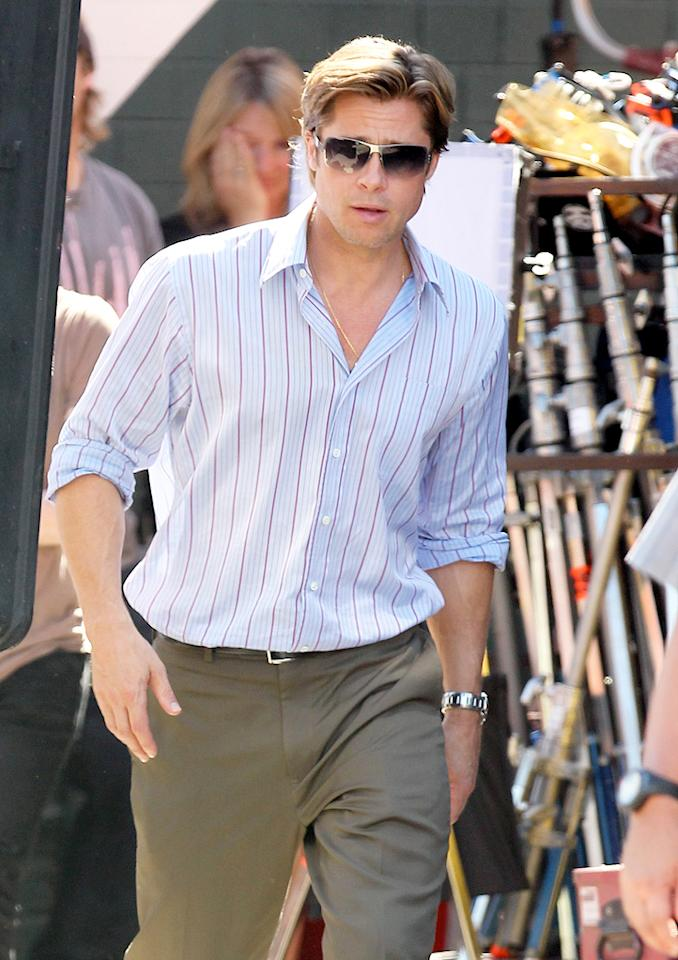 """<a href=""""http://movies.yahoo.com/movie/contributor/1800018965"""">Brad Pitt</a> sported a scraggy beard for so long we feared it was going to become a permanent fixture on his face. Fortunately, he's returned to his classic, clean-shaven look for his role in """"Moneyball,"""" where he portrays Oakland A's manager Billy Beane."""