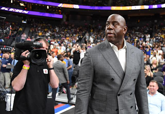 """Magic Johnson is playing a high-stakes game in negotiations for <a class=""""link rapid-noclick-resp"""" href=""""/nba/players/5007/"""" data-ylk=""""slk:Anthony Davis"""">Anthony Davis</a>. What happens if he loses? (Getty)"""