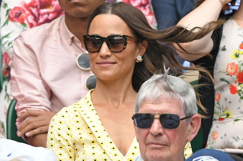 A photo of Pippa Middleton on Centre Court during day eleven of the Wimbledon Tennis Championships at All England Lawn Tennis and Croquet Club on July 12, 2019 in London, England.