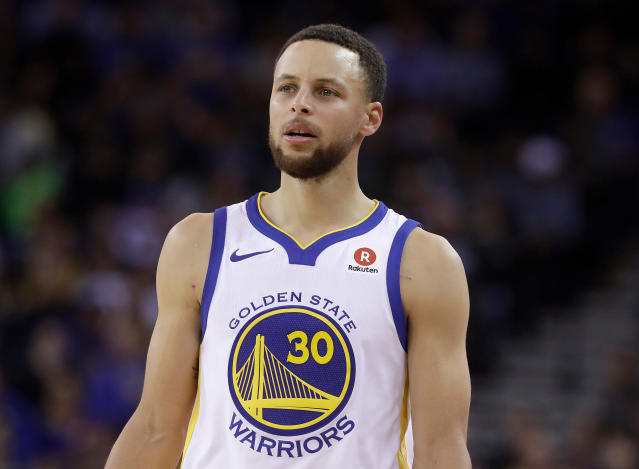 Stephen Curry returned to practice Thursday for the first time since spraining his MCL on March 23 and may be ready for Game 1 against the Pelicans. (AP)