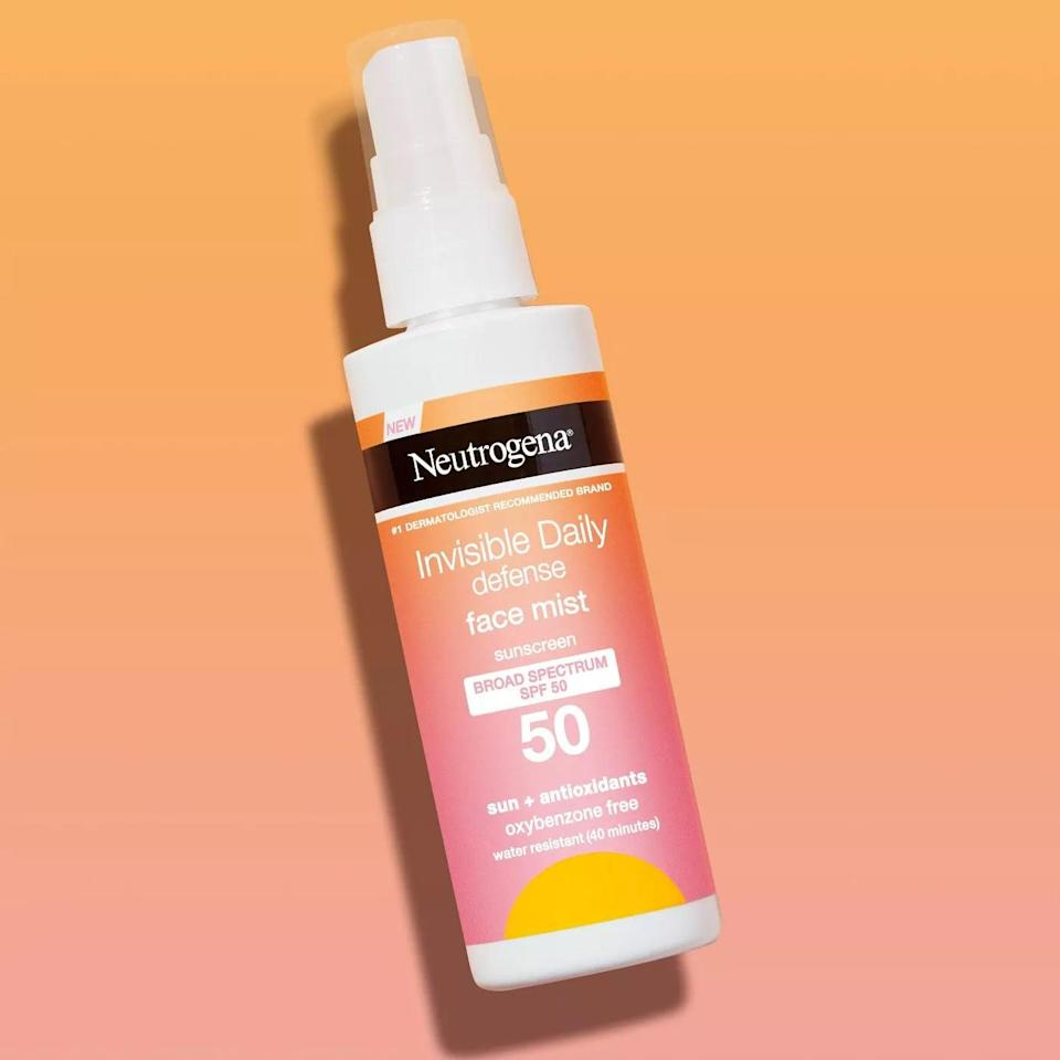 <p>Give your skin a boost of hydration and protection with the <span>Neutrogena Invisible Daily Defense Sunscreen Face Mist - SPF 50</span> ($15). </p>