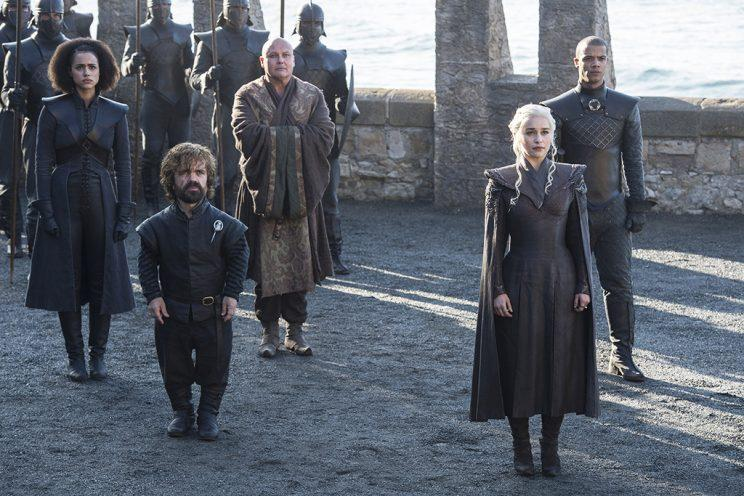 Nathalie Emmanuel as Missandei, Peter Dinklage as Tyrion Lannister, Conleth Hill as Varys, Emilia Clarke as Daenerys Targaryen, and Jacob Anderson as Grey Worm in HBO's Game of Thrones. (Photo: HBO)