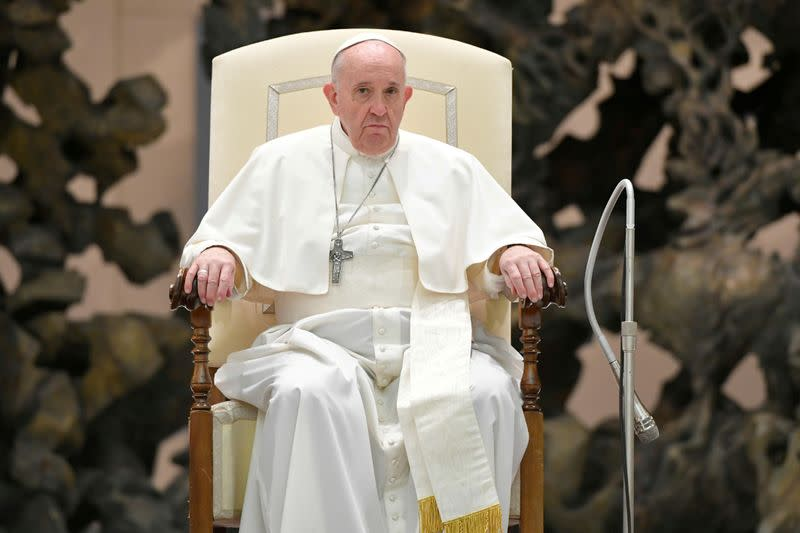 FILE PHOTO: Pope Francis attends the weekly general audience at the Vatican