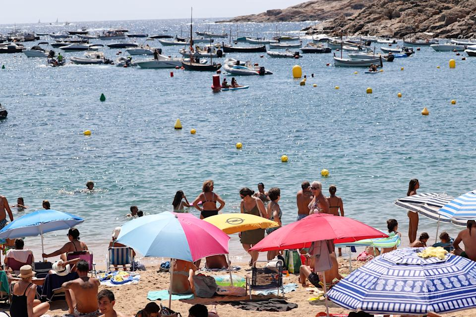 The beaches of the Costa Brava full of people in the middle of the Covid19 pandemic, in Tamariu (Girona), Catalonia, Spain on 17th August 2020. (Photo by Joan Valls/Urbanandsport/NurPhoto via Getty Images)