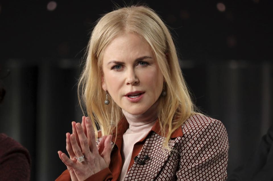 """FILE- In this Jan. 15, 2020, file photo, actress Nicole Kidman speaks at the """"The Undoing"""" panel during the HBO TCA 2020 Winter Press Tour at the Langham Huntington in Pasadena, Calif. Hong Kong's government said in a statement Thursday, Aug. 19, 2021, that it had recently granted a quarantine exemption to someone to perform """"designated professional work"""" after reports surfaced that Kidman did not have to serve quarantine when she arrived in the city to film a TV series. (Willy Sanjuan/Invision/AP, File)"""