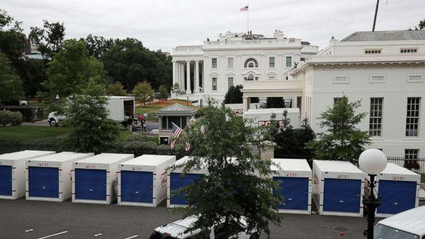 PHOTO: Furniture and materials from the White House are stored in temporary containers outside the West Wing while remodeling work continues August 11, 2017 in Washington, DC. (Chip Somodevilla/Getty Images)