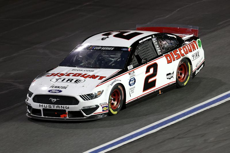 Brad Keselowski drives during the NASCAR Cup Series Alsco Uniforms 500 at Charlotte Motor Speedway on Thursday in Concord, North Carolina. (Photo by Chris Graythen/Getty Images)