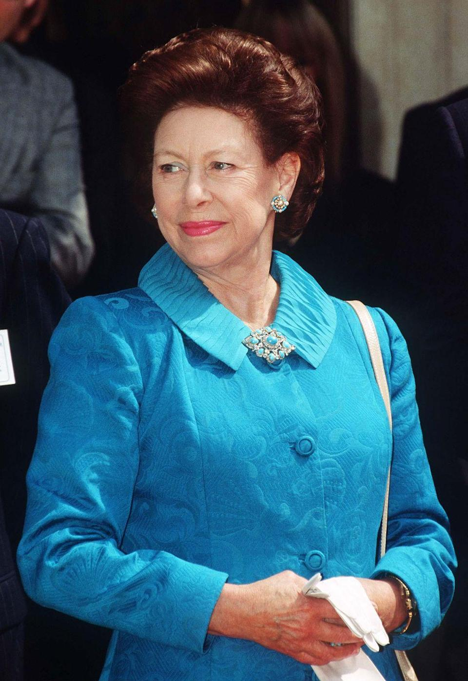 "<p>Princess Margaret is pictured at the unveiling of the <a href=""https://www.nspcc.org.uk/keeping-children-safe/our-services/childrens-services/"" rel=""nofollow noopener"" target=""_blank"" data-ylk=""slk:bronze Allies sculpture in London"" class=""link rapid-noclick-resp"">bronze Allies sculpture in London</a>, celebrating 50 years of peace and highlighting the relationship between British Prime Minister Winston Churchill and US President Franklin Roosevelt. </p>"