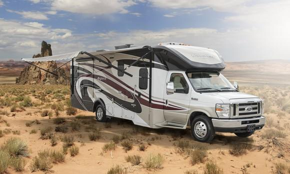 An RV parked in the desert.