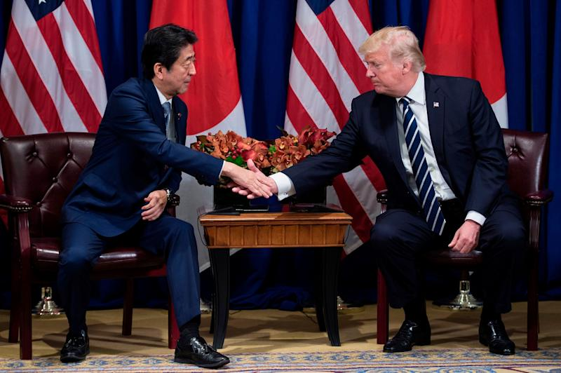 Shinzo Abe, Japan's prime minister, and U.S. President Donald Trump talked during the United Nations General Assembly in New York City in September. They will see each other again during Trump's trip to Asia.