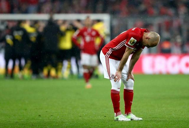 "<a class=""link rapid-noclick-resp"" href=""/soccer/players/arjen-robben"" data-ylk=""slk:Arjen Robben"">Arjen Robben</a> rues Bayern Munich's cup loss to <a class=""link rapid-noclick-resp"" href=""/soccer/teams/borussia-dortmund/"" data-ylk=""slk:Borussia Dortmund"">Borussia Dortmund</a>. (Getty)"