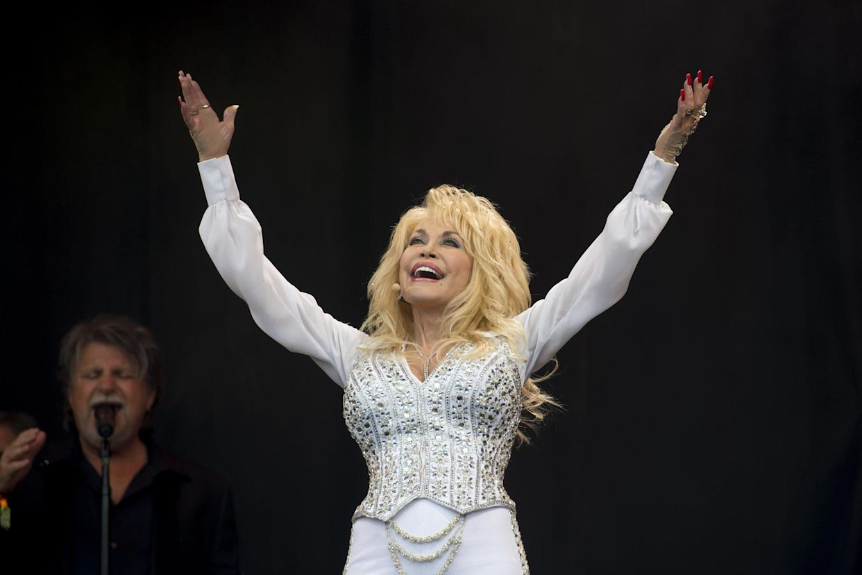 Dolly Parton performing at the Glastonbury Festival, at Worthy Farm in Somerset.   (Photo by Matt Crossick/PA Images via Getty Images)