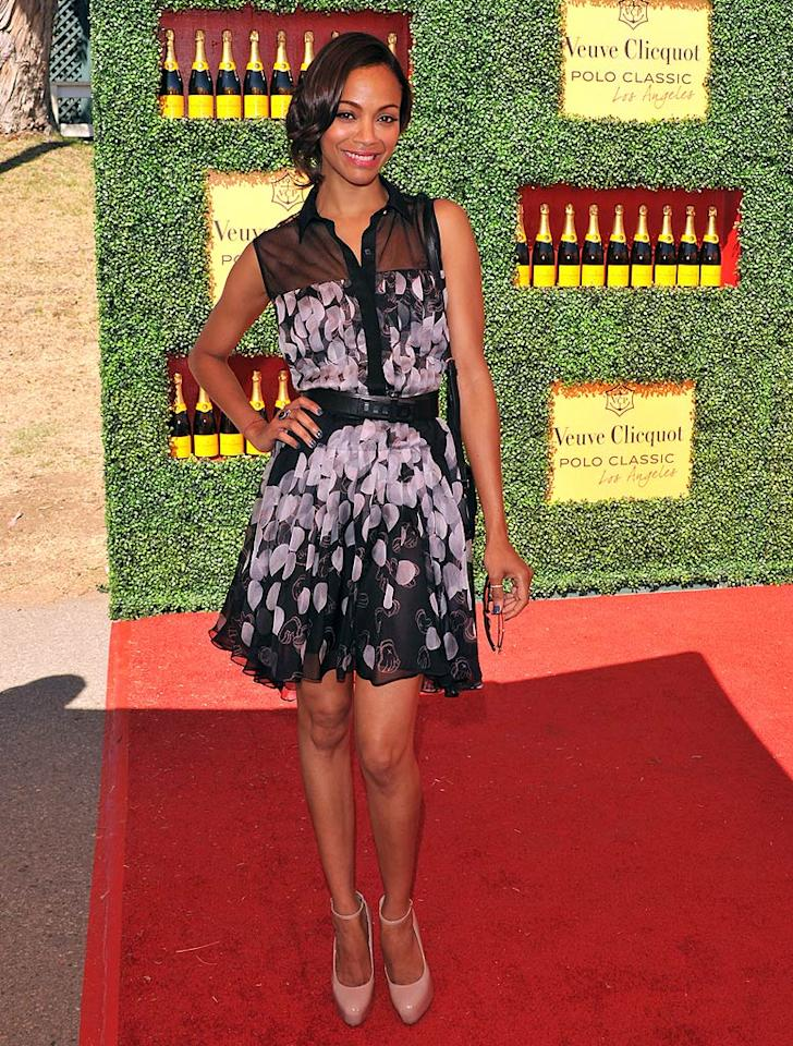Following in Ali's footsteps was the equally stunning Zoe Saldana, who was cute as can be thanks to her loose updo, Brian Atwood pumps, and pleated Jason Wu Spring 2012 dress, which featured a petal print and mesh paneling.   JB Lacroix/WireImage.com - October 9, 2011
