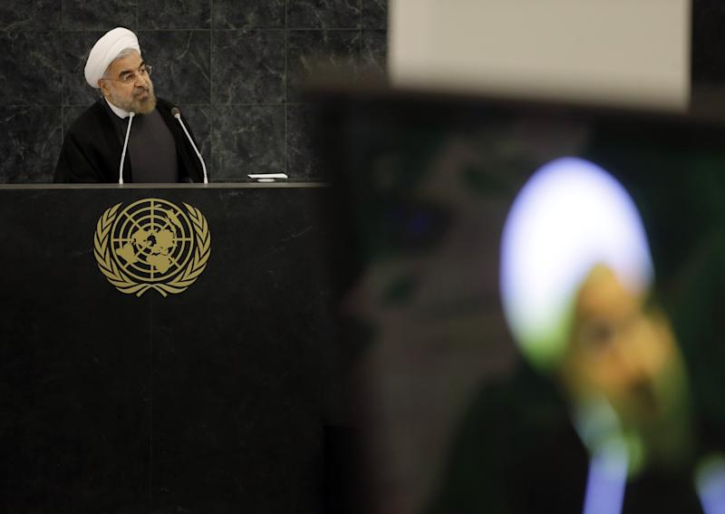 Iranian President Hassan Rouhani speaks at a meeting on nuclear disarmament during the 68th session of the General Assembly at United Nations headquarters, Thursday, Sept. 26, 2013. (AP Photo/Seth Wenig)