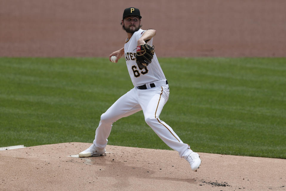 Pittsburgh Pirates starter JT Brubaker pitches against the Minnesota Twins in the first inning of a baseball game, Thursday, Aug. 6, 2020, in Pittsburgh. (AP Photo/Keith Srakocic)