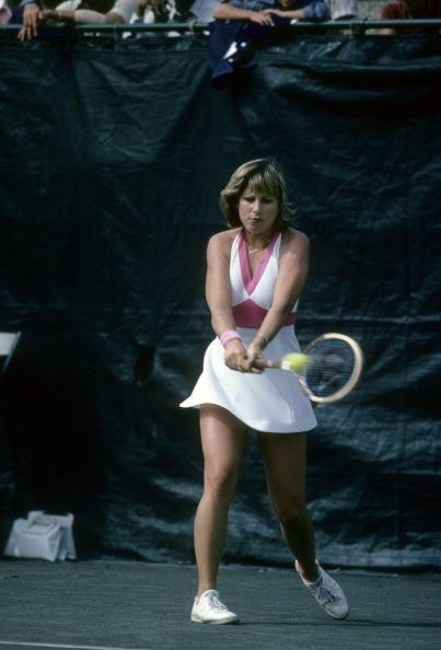 Chris Evert of the USA hits a backhand return against Wendy Turnbull during the women finals of the 1977 U.S. Open tennis tournament.