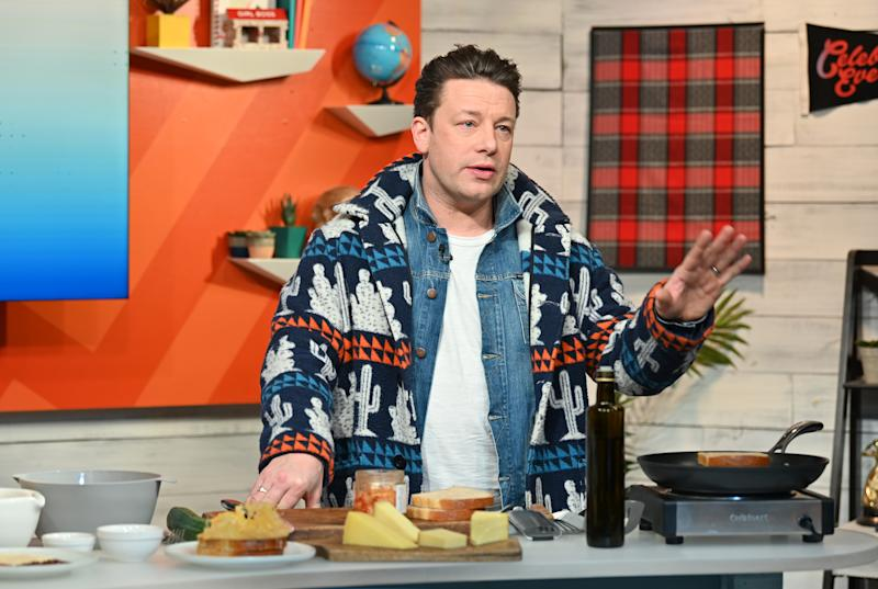 "NEW YORK, NEW YORK - JANUARY 09: (EXCLUSIVE COVERAGE) Chef Jamie Oliver visits BuzzFeed's ""AM To DM"" to discuss his new book ""Ultimate Veg: Easy & Delicious Meals for Everyone"" on January 09, 2020 in New York City. (Photo by Slaven Vlasic/Getty Images)"