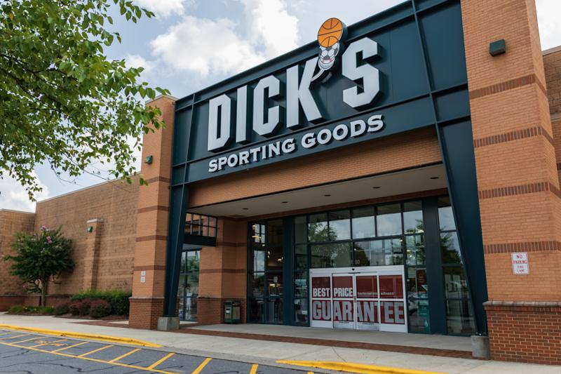 Hickory, NC, USA-20 August 2018: A Dick's Sporting Goods store, one of over 600 in the U.S.