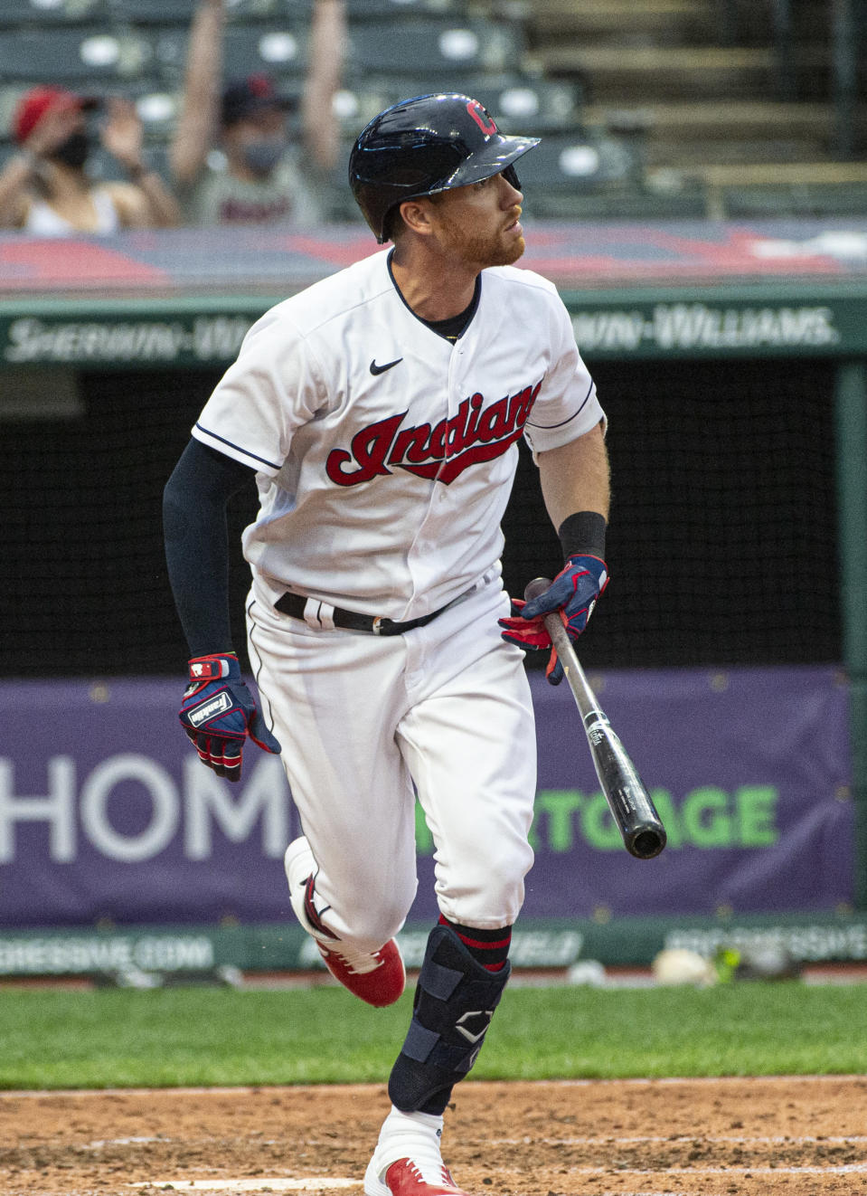 Cleveland Indians' Jordan Luplow watches his three-run home run off Detroit Tigers starting pitcher Tarik Skubal during the fourth inning of a baseball game in Cleveland, Saturday, April 10, 2021. (AP Photo/Phil Long)