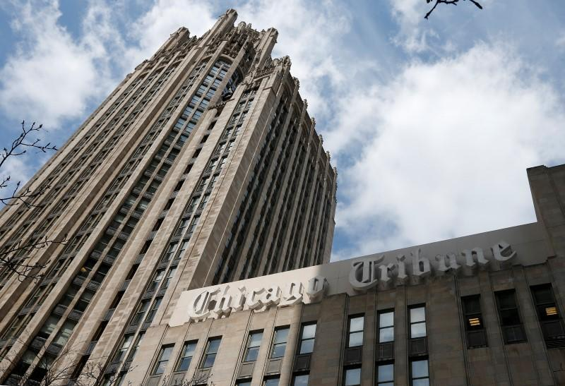 The Chicago Tribune building is seen in Chicago